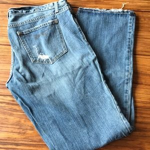 GAP Straight Boy Cut Denim Distressed Jeans
